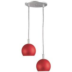 Pendente para 2 Lâmpadas 2 Bolas Alumínio E Vermelho - Pantoja