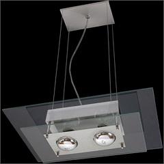 Pendente Retangular para 2 Lâmpadas Spacial Transparente - Pantoja & Carmona
