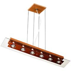 Pendente Retangular para 6 Lâmpadas Transparente E Cobre