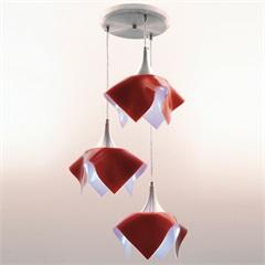 Pendente Tulipa Color para 3 Lâmpadas Vermelho  - Auremar