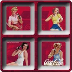 Petisqueira Coca-Cola Melamine Quadrada Pin Ups Vermelho - Urban