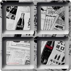 Petisqueira em Melamina Quadrada Coca-Cola Newspaper Preto E Branco - Urban