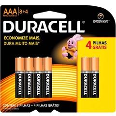 Pilha Alcalina Aaa Básica Duralock Technology Leve 12 Pague 8 - Duracell