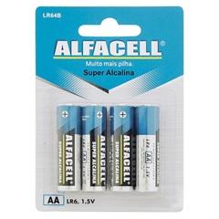 Pilha Pequena Alcalina Aa 1,5v 4 Unidades - Alfacell