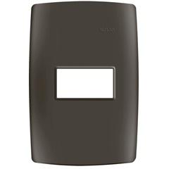 Placa 4x2 1 Posto Horizontal com Suporte Grafite Fosco S30 - Simon