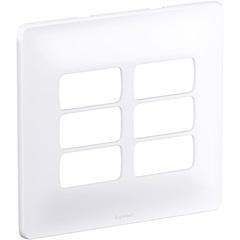 Placa 4x4 6 Postos Separados Zeffia Branco - Pial Legrand