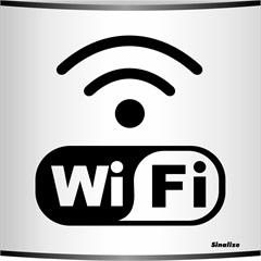 "Placa de Alumínio Calandrada ""Wi Fi""  - Sinalize"