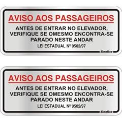 Placa de Aviso para Elevador com 2 Unidades 15x15cm       - Sinalize