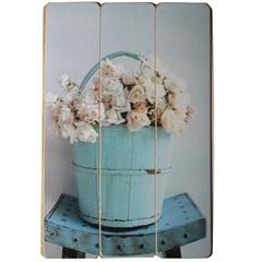 Placa Decorativa Balde de Rosas 40x60cm Azul E Branco