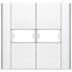 Placa para 2 Postos Modulare 4x4 Branco 655         - Fame