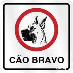 Placa Sinalizadora de Cão Bravo em Alumínio 12x12cm - Sinalize