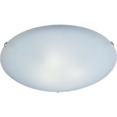Plafon Clean 30cm Branco Cromado - Bronzearte