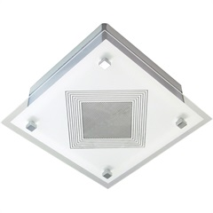 Plafon de Sobrepor para 1 Lâmpada Malaga 22,5x22,5cm Branco E Transparente - Tualux