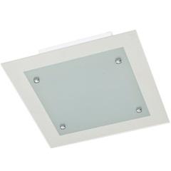 Plafon em Vidro Quadrado para 2 Lâmpadas 30cm Transparente