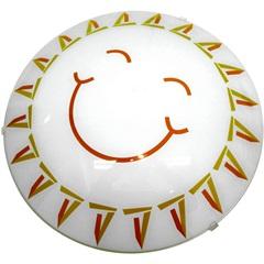 Plafon Happy Infantil para 1 Lâmpada Vidro Branco 25cm