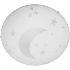 Plafon Luna 25 Cm 1 Luz Vidro Branco  - Bronzearte