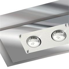 Plafon para 2 Lâmpadas Ref: 136 Escovado E Vidro Espelhado - Pantoja