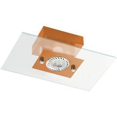 Plafon Retangular para 1 Lâmpada Ref: 6120 Transparente com Cobre - Pantoja