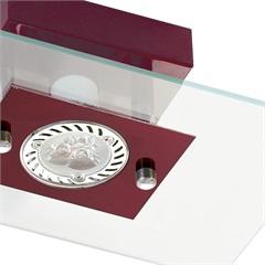 Plafon Retangular para 1 Lâmpada Ref: 6120 Transparente com Vermelho - Pantoja