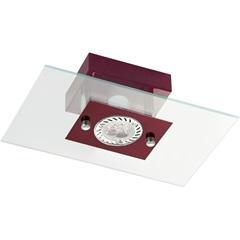 Plafon Retangular para 1 Lâmpada Transparente com Vermelho - Pantoja & Carmona