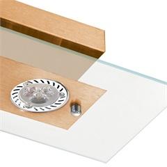 Plafon Retangular para 2 Lâmpada Ref: 6121 Transparente com Cobre - Pantoja