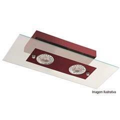 Plafon Retangular para 2 Lâmpadas Ref: 6121 Transparente com Vermelho - Pantoja