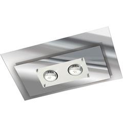 Plafon Retangular para 2 Lâmpadas Spacial Cromado Fosco - Pantoja & Carmona