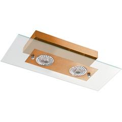 Plafon Retangular para 2 Lâmpadas Transparente com Cobre - Pantoja & Carmona
