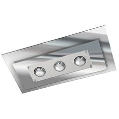 Plafon Retangular para 3 Lâmpadas Escovado E Vidro Espelhado - Pantoja