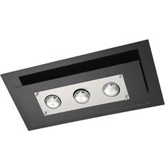 Plafon Retangular para 3 Lâmpadas Spacial Preto - Pantoja & Carmona