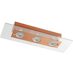 Plafon Retangular para 3 Lâmpadas Transparente com Cobre - Pantoja & Carmona