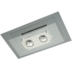 Plafon Spacial Retangular para 2 Lâmpadas Ref: Pmr 136 - Pantoja