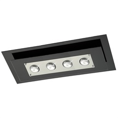 Plafon Spacial Retangular  para 4 Lâmpadas Ref: Pmr 138 Vidro Preto - Pantoja