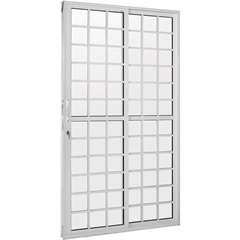 Porta-Balcão 2 Folhas 210x150 Branca com Fechadura Linha Quadriculada - Ebel