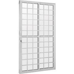 Porta Balcão 2 Folhas em Alumínio com Fechadura Linha Quadriculada Branca 210x120cm - Casanova