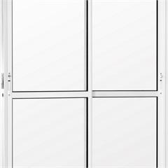 Porta Balcão 2 Folhas Móveis em Alumínio Vidro Liso Una Branca 210x120cm - Casanova