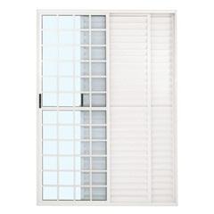 Porta-Balcão 3 Folhas 210x120 Branca com Fechadura Linha Quadriculada - Ebel