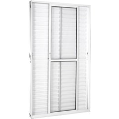 Porta Balcão 3 Folhas Móveis em Alumínio Vidro Liso Una Branca 210x120cm - Casanova