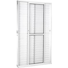 Porta Balcão 3 Folhas Móveis em Alumínio Vidro Liso Una Branca 210x120cm - Ebel