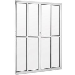 Porta Balcão 4 Folhas em Alumínio Vidro Liso Una Branca 210x150cm - Casanova