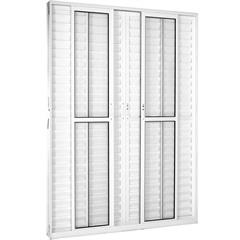 Porta Balcão 6 Folhas em Alumínio Vidro Liso Una Branca 210x150cm - Casanova