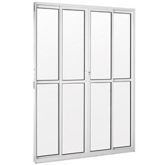 Porta Balcão de Correr Central com Vidro Liso Una 210x200cm Branca - Casanova
