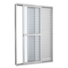 Porta Balcão de Correr Prátika Branco Direita 217x120x12 Cm Ref.: 2634101-9  - Sasazaki