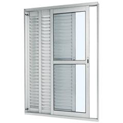 Porta-Balcão de Correr Veneziana 3  Branca 2,16x1,50x14cm Esquerda - Ref:74221122  - Sasazaki