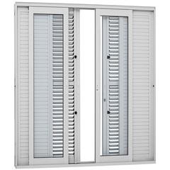 Porta Balcão Veneziana de Correr Central Aluminium Multiflex 216x250cm Branca - Sasazaki
