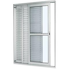 Porta Balcão Veneziana de Correr Direita Aluminium 216x150cm Branca - Sasazaki
