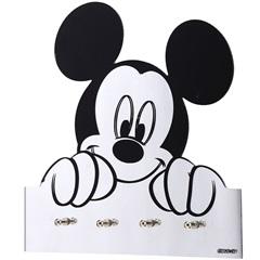 Porta Chaves de Parede em Vidro Mickey 25cm Espelhado E Preto - Importado