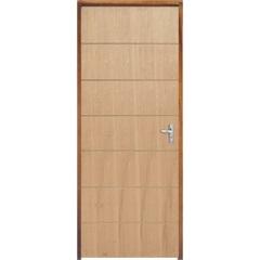 Porta com Miolo Semi Oco Montada Esquerda Curupixá Frisada 210x72cm Natural - Sidney Esquadrias