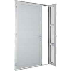 Porta de Abrir Alumifort Lambri 216x120x5,4 Cm Esquerda Branca Ref.: 76350710  - Sasazaki