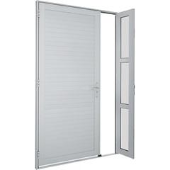 Porta de Abrir Alumifort Lambri Horizontal com Seteira 216x120 Cm Direita Branca Ref.: 76.35.070-1  - Sasazaki